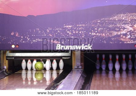 Serpuhov, Russia - April, 25, 2017: interior of a bowling club in Serpuhov, Russia