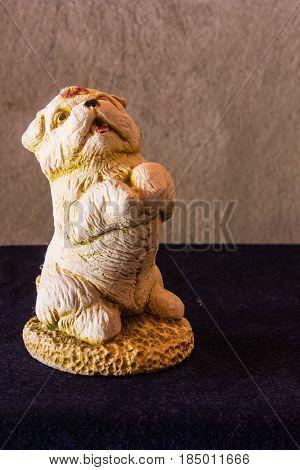 Dog ceramic still life , art object