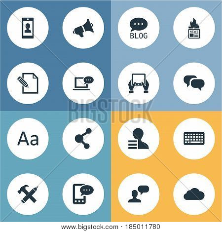 Vector Illustration Set Of Simple Blogging Icons. Elements Gazette, Laptop, Profile And Other Synonyms Site, Sky And Gain.