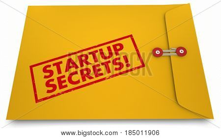 Startup Secrets Yellow Envelope Information Advice 3d Illustration