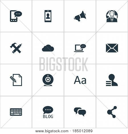 Vector Illustration Set Of Simple Newspaper Icons. Elements Site, Document, Keypad And Other Synonyms Speech, Forum And Sky.