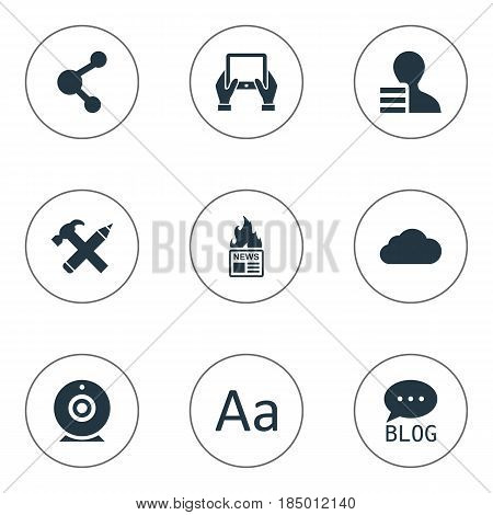 Vector Illustration Set Of Simple Blogging Icons. Elements Repair, Cedilla, Gazette And Other Synonyms Overcast, Camera And Hammer.