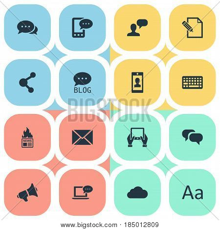 Vector Illustration Set Of Simple Blogging Icons. Elements Post, Gazette, Loudspeaker And Other Synonyms Man, Smartphone And Tablet.