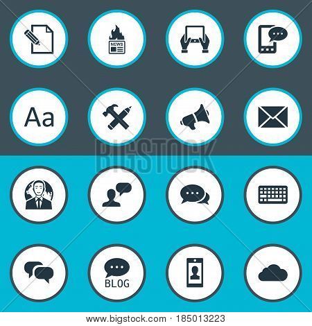Vector Illustration Set Of Simple User Icons. Elements Post, Repair, International Businessman And Other Synonyms Argument, Speech And Laptop.