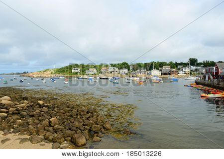 Yachts in Rockport Harbor in downtown Rockport, Massachusetts, USA.
