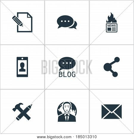 Vector Illustration Set Of Simple User Icons. Elements Gazette, Profile, Site And Other Synonyms Blog, Argument And Pen.