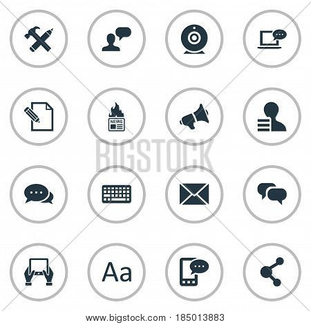 Vector Illustration Set Of Simple Newspaper Icons. Elements Notepad, Man Considering, Broadcast And Other Synonyms Man, Broadcast And Hot.