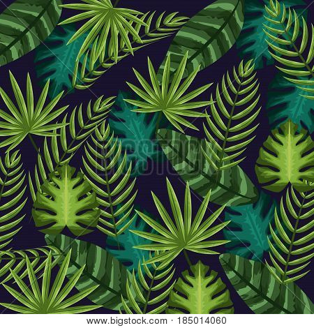 nice and exotic leaves of plants background, vector illustration