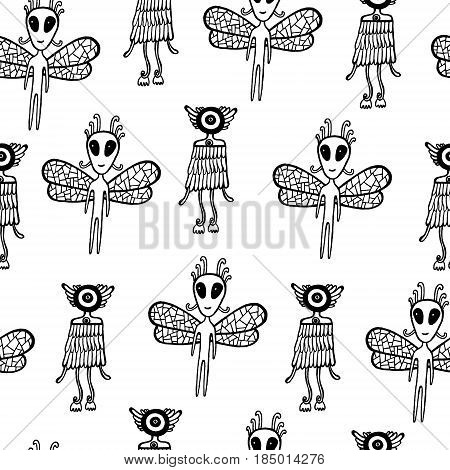 Ufo alien seamless pattern. Hand drawn coloring page for kids and adult. Vector background art.