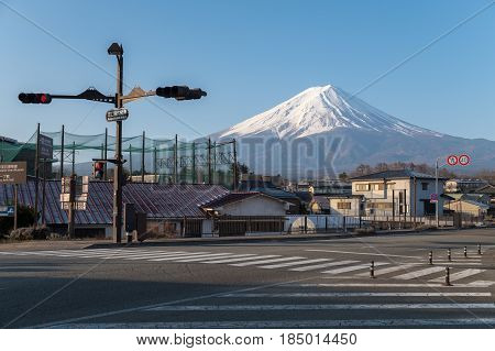 Beautiful Morning Fuji Mountain View With Building