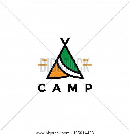Summer camp logo vector, kids camp holidays