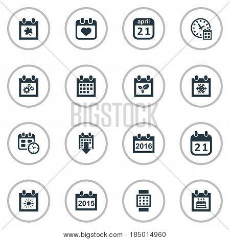 Vector Illustration Set Of Simple Time Icons. Elements Leaf, Agenda, Annual And Other Synonyms Remembrance, Summer And Watch.