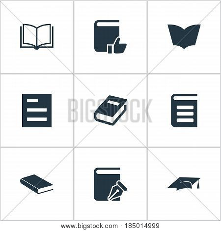 Vector Illustration Set Of Simple Education Icons. Elements Academic Cap, Encyclopedia, Reading And Other Synonyms Page, Favored And Notebook.