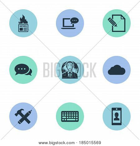 Vector Illustration Set Of Simple Newspaper Icons. Elements Profile, Repair, Laptop And Other Synonyms Contract, Sky And Profile.