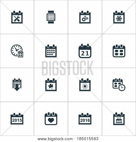 Vector Illustration Set Of Simple Plan Icons. Elements Summer Calendar, Special Day, Heart And Other Synonyms Wheel, Smart And Block.