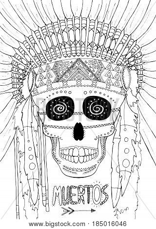 Zentangle vector illustration Dia de Muertos. Doodle hand drawing. Coloring book anti stress for adults. Traditional Mexican skull with lots of ethnic ornaments to the Day of The Dead