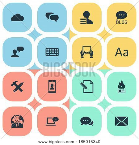 Vector Illustration Set Of Simple Newspaper Icons. Elements Gazette, International Businessman, Site And Other Synonyms Hot, Coming And Hammer.