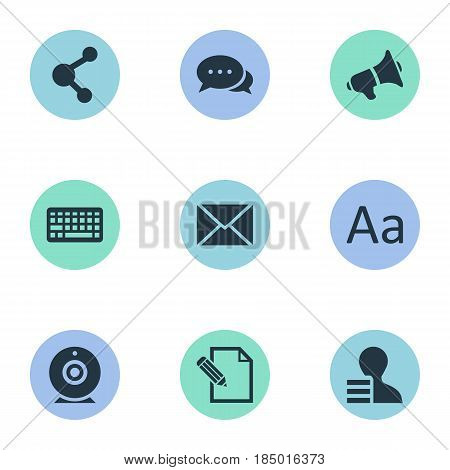 Vector Illustration Set Of Simple Newspaper Icons. Elements Loudspeaker, Cedilla, Gain And Other Synonyms Loudspeaker, Pen And Alphabet.