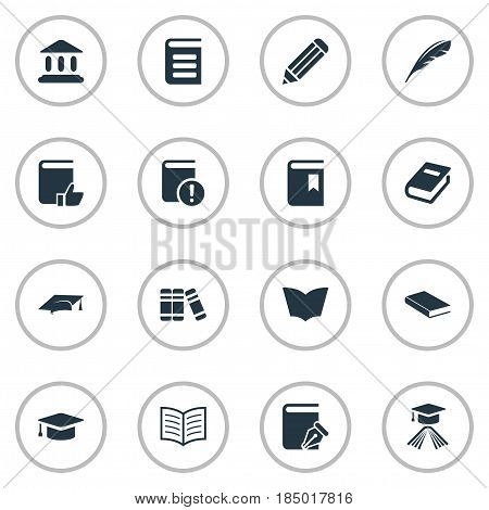 Vector Illustration Set Of Simple Education Icons. Elements Bookshelf, Notebook, Important Reading And Other Synonyms Plume, Dictionary And Sketchbook.
