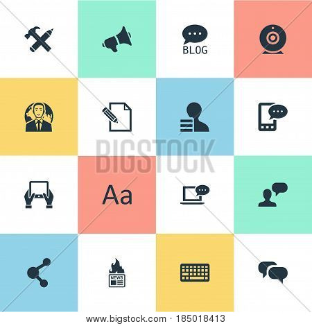 Vector Illustration Set Of Simple Blogging Icons. Elements E-Letter, Document, Man Considering And Other Synonyms Pencil, Repair And Writing.