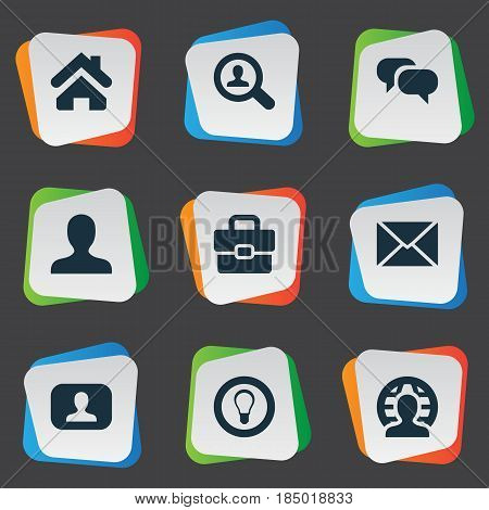 Vector Illustration Set Of Simple Business Icons. Elements Bulb, Home, Anonymous And Other Synonyms Global, Member And Interlocutor.