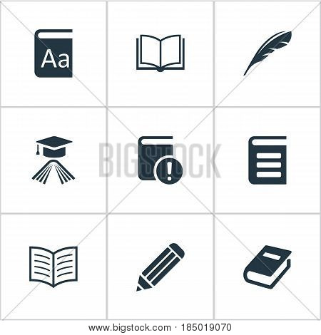 Vector Illustration Set Of Simple Reading Icons. Elements Plume, Alphabet, Encyclopedia And Other Synonyms Writing, Academic And Quill.