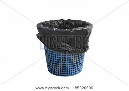 Garbage bin basket with empty black bag but without cover isolated on white background with clipping path.