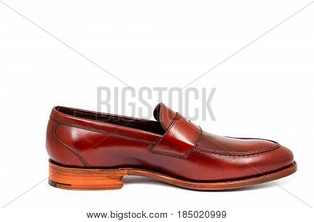 cherry calf penny loafer shoe toe to right on white background. Horizontal image poster