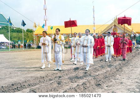 BANGKOK, THAILAND - MAY 13,2015 : Unidentified Government officials scatter the water attend the ceremony -Perform for an auspicious beginning for planting season on the Royal Plowing Ceremony in Bangkok city,Middle of Thailand.