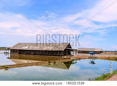 Storage of salt at salt field with blue sky background.