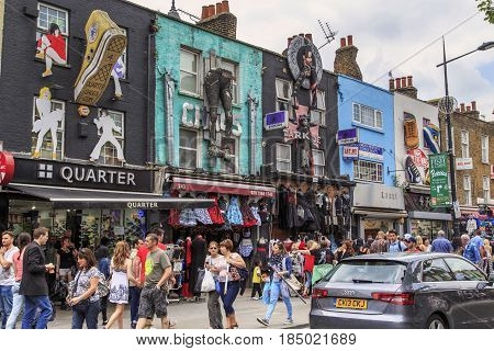 LONDON, GREAT BRITAIN - MAY 17, 2014: This is High Street in the Camden Town area which is a continuous market.