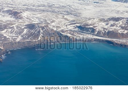 Aerial view Iceland seacoast landscape in winter season natural landscape background
