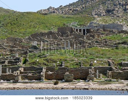 Archaeological Site of Delos as seen from the ferry, Delos Island, Mykonos, Greece