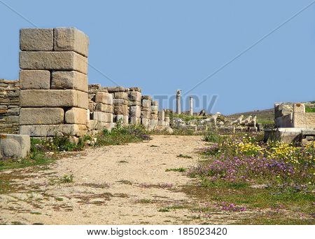 Walkway amongst the ancient remains in the Archaeological Site of Delos, Delos Island, Mykonos, Greece