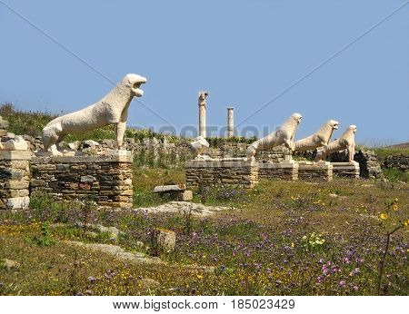 Terrace of the Lions, the famous symbol of Archaeological Site of Delos, Delos Island, Mykonos, Greece