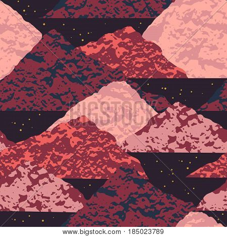 Abstract cosmic seamless pattern. Trendy hand drawn texture, glitter and geometric elements. Vector modern design for paper, wallpaper, cover, fabric, Interior decor, sportswear and other users.