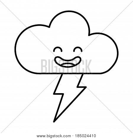cloud with ray climate kawaii character vector illustration design