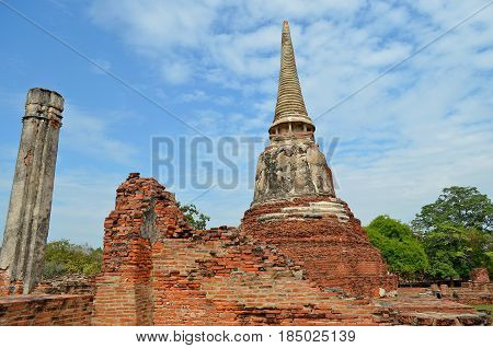 Buddhist pagoda in the shade of trees reveals itself for the pilgrim and tourist, Buddhism philosophy and religion, and tourists take photographs and initiate to secret knowledge