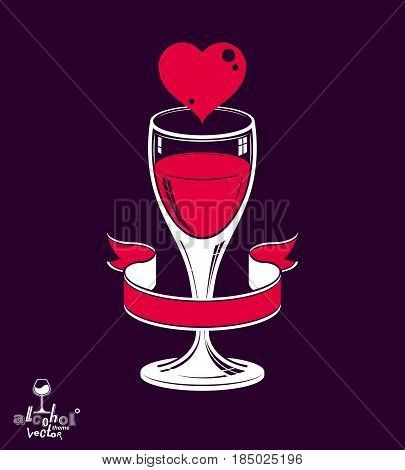 Simple Wineglass Vector Artistic Illustration – Marriage Conceptual Graphic Object. Valentine's Day