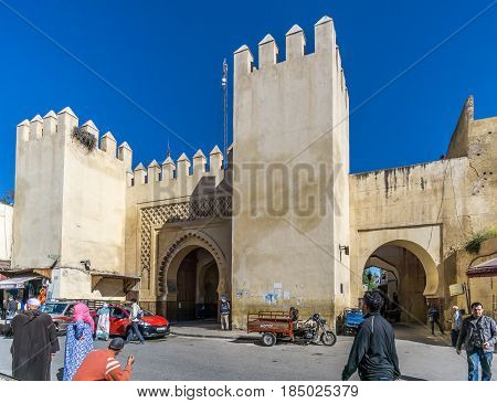 FEZ ,MOROCCO - APRIL 6,2017 - Gate Bab el Magana in Fez . Fez city has been called the