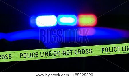Defocused Police Car Siren With Boundary Tape
