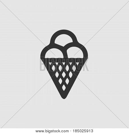 Ice cream vector icon esp 10. Black and white illustration.