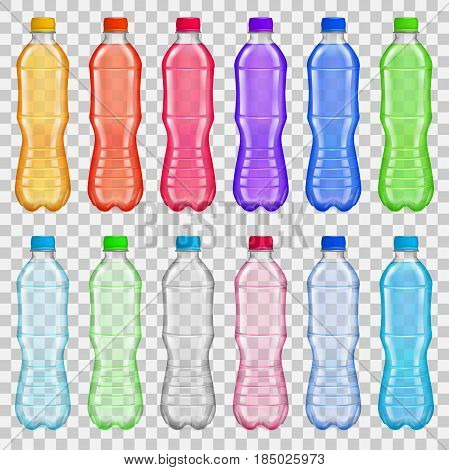 Set Of Transparent Plastic Bottles With Multicolored Juices And Water
