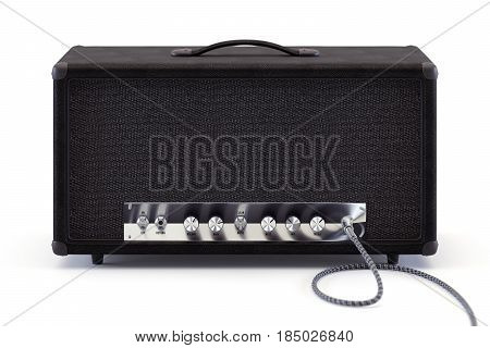 3d render of analog guitar amplifier with inserted audio cable and shining chrome round knobs.