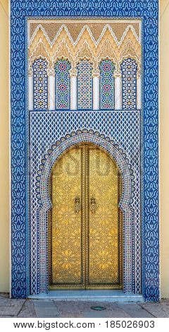 Decorated doors at the Royal palace in Fez - Morocco