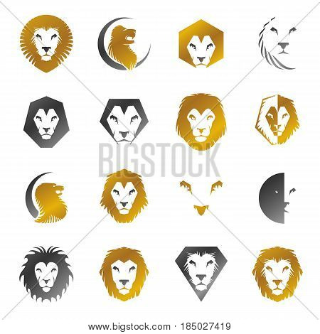 Lion Faces heraldic elements set. Heraldic Coat of Arms decorative logo isolated vector illustrations collection.