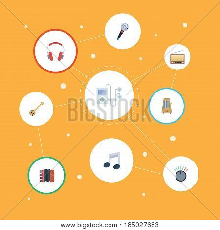 Flat Karaoke, Earphone, Radio And Other Vector Elements. Set Of Audio Flat Symbols Also Includes Metronome, Microphone, Player Objects.