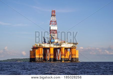 Labuan,Malaysia-May 1,2017:Offshore oil rig drilling platform in Labuan island,Malaysia on 1st May 2017.It is a large structure with facilities to drill wells,to extract & process oil & natural gas.