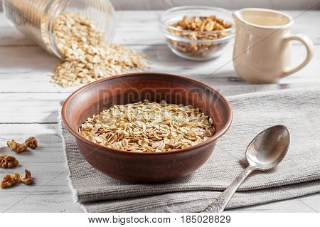 Oat Flakes In Brown Clay Bowl Ready To Cook