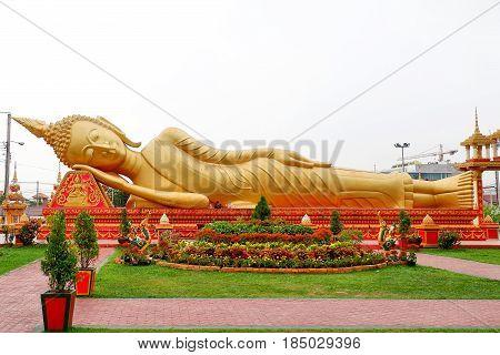 Buddha statue at Wat Pha That Luang, Vientiane, Laos